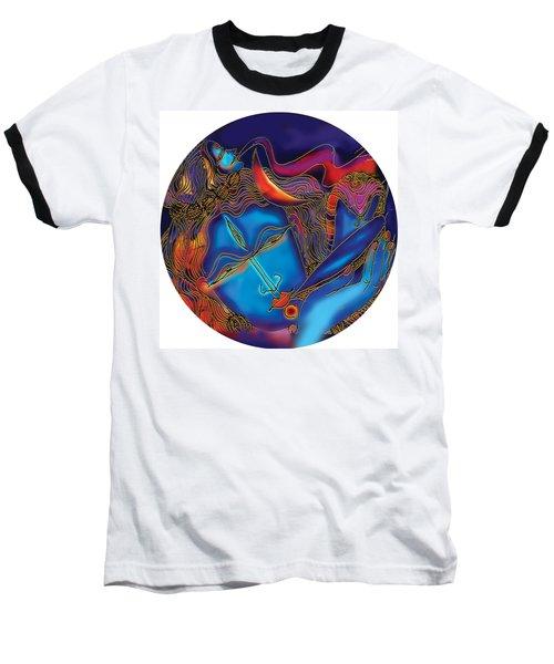 Baseball T-Shirt featuring the painting Shiva Blowing The Horn by Guruji Aruneshvar Paris Art Curator Katrin Suter