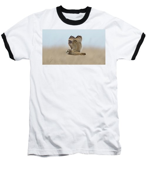 Short-eared Owl Hunting Baseball T-Shirt