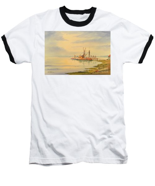 Baseball T-Shirt featuring the painting Shrimp Boat Sunset by Bill Holkham