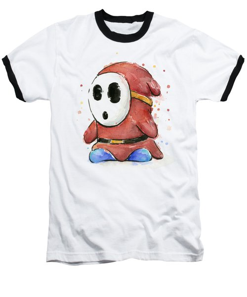 Shy Guy Watercolor Baseball T-Shirt by Olga Shvartsur