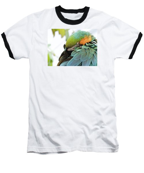 Baseball T-Shirt featuring the photograph Shy Macaw by Penny Lisowski