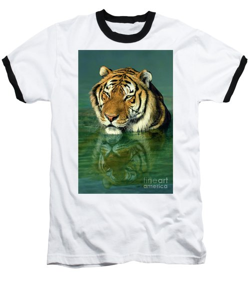 Siberian Tiger Reflection Wildlife Rescue Baseball T-Shirt