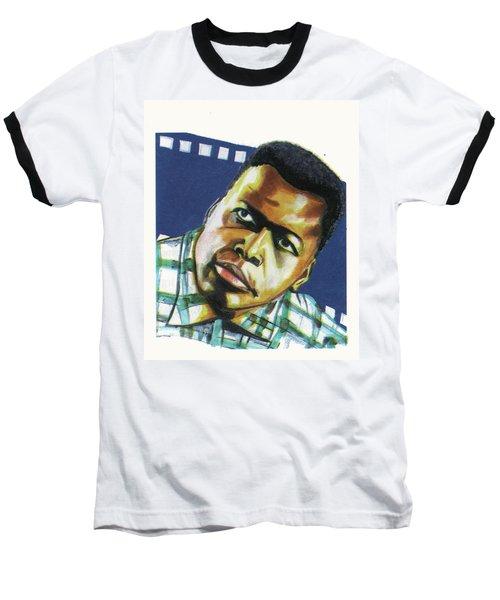 Sidney Poitier Baseball T-Shirt by Emmanuel Baliyanga