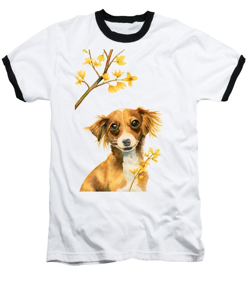Signs Of Spring - Cute Dog With Forsythia Watercolor Painting Baseball T-Shirt