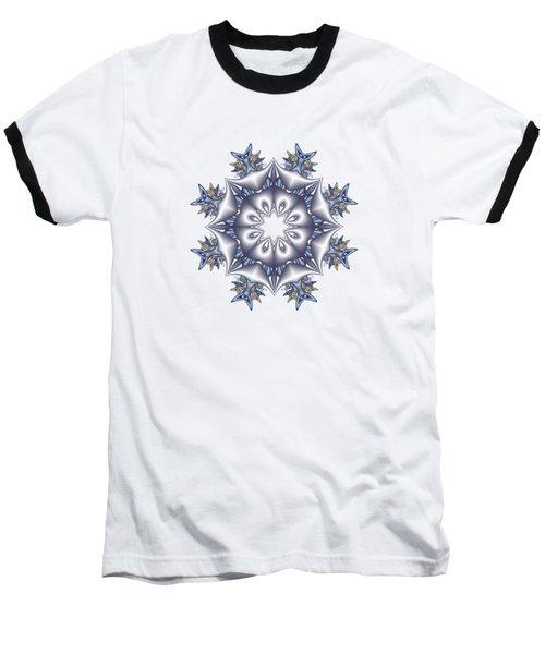 Silver Fractal Snowflake Baseball T-Shirt