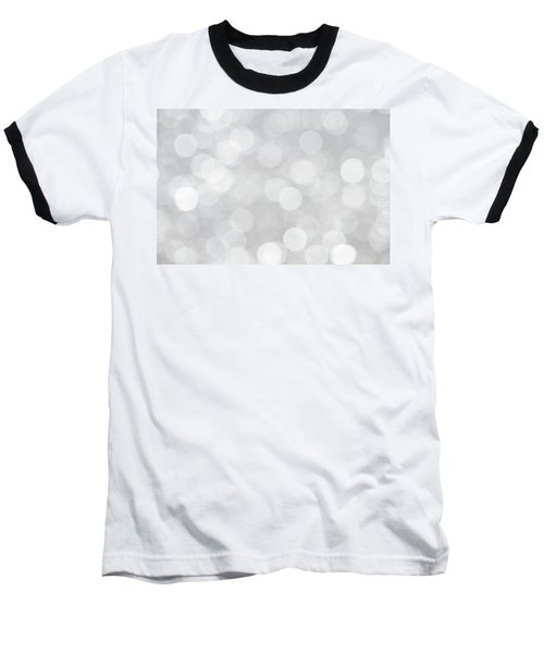 Silver Grey Bokeh Abstract Baseball T-Shirt by Peggy Collins