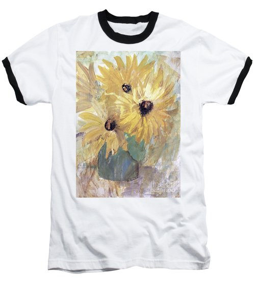 Baseball T-Shirt featuring the painting Simply Sunflowers  by Robin Maria Pedrero