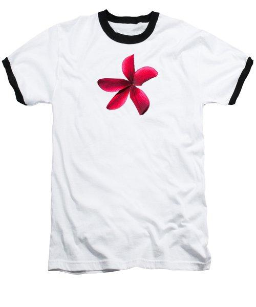 Single Red Plumeria Baseball T-Shirt by Pamela Walton