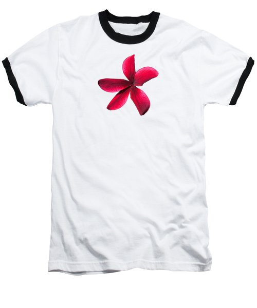 Single Red Plumeria Baseball T-Shirt