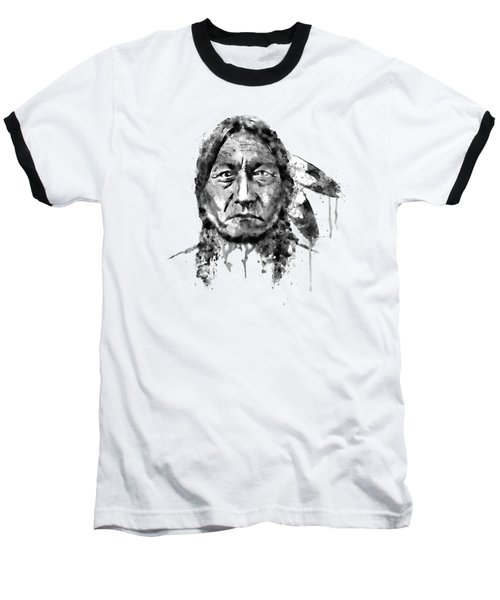 Sitting Bull Black And White Baseball T-Shirt