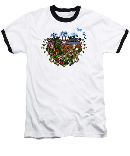 Siuslaw River Floral Baseball T-Shirt by Thom Zehrfeld