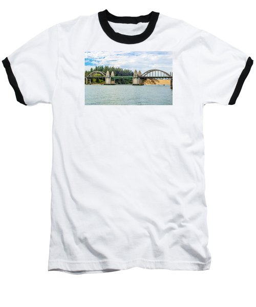 Baseball T-Shirt featuring the tapestry - textile Siuslaw River Draw Bridge  by Dennis Bucklin
