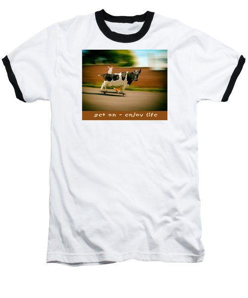 Skateboarding Cow And Pals Baseball T-Shirt