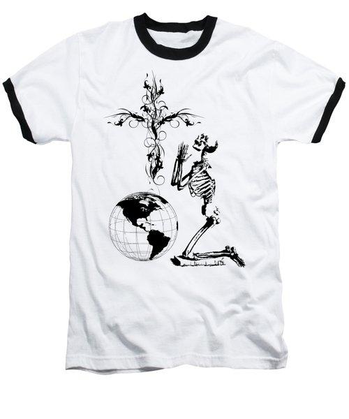 Skeleton Pryaing Cross Globe Baseball T-Shirt