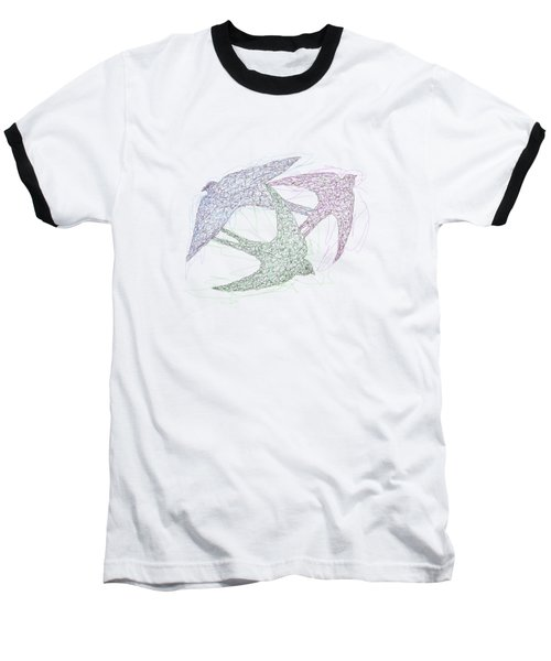 Sketch Of Swallow Birds Design In Motion Symbolism Of Freedom And Unity Baseball T-Shirt