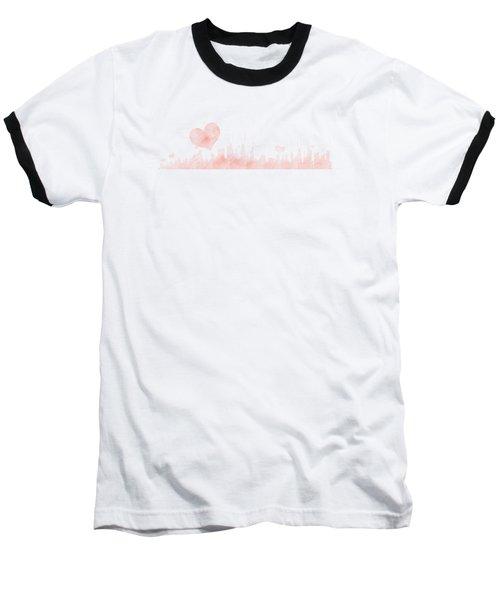 Sketch Of The City Skyline Baseball T-Shirt by Anton Kalinichev