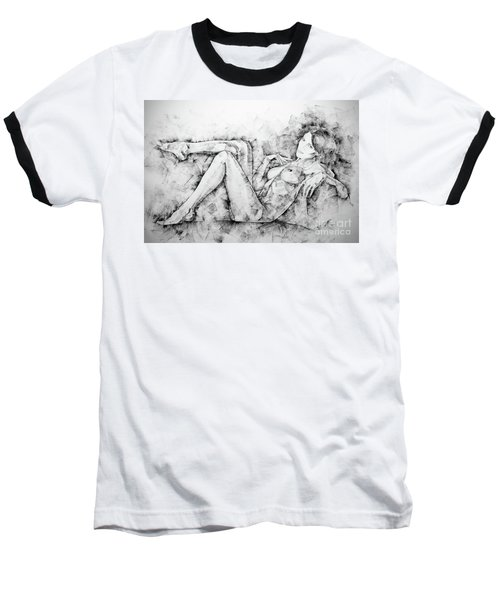 Sketchbook Page 46 Drawing Woman Classical Sitting Pose Baseball T-Shirt