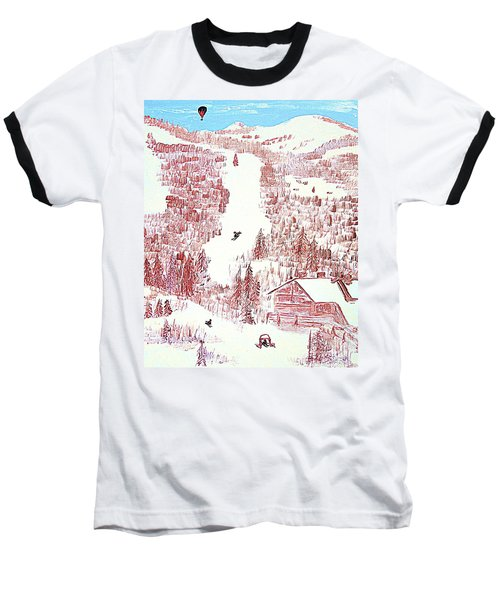 Baseball T-Shirt featuring the painting Skiing Deer Valley Utah by Richard W Linford