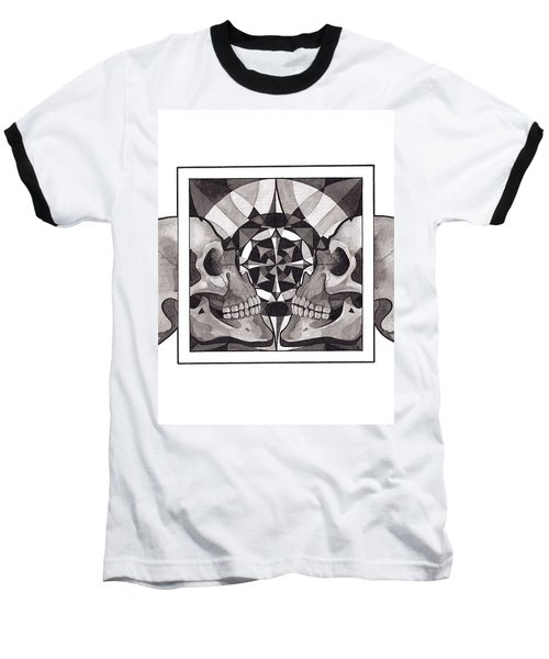 Skull Mandala Series Nr 1 Baseball T-Shirt by Deadcharming Art