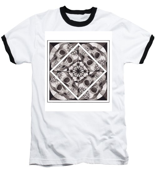 Skull Mandala Series Number Two Baseball T-Shirt by Deadcharming Art