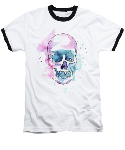 Skull Watercolor Abstract Baseball T-Shirt