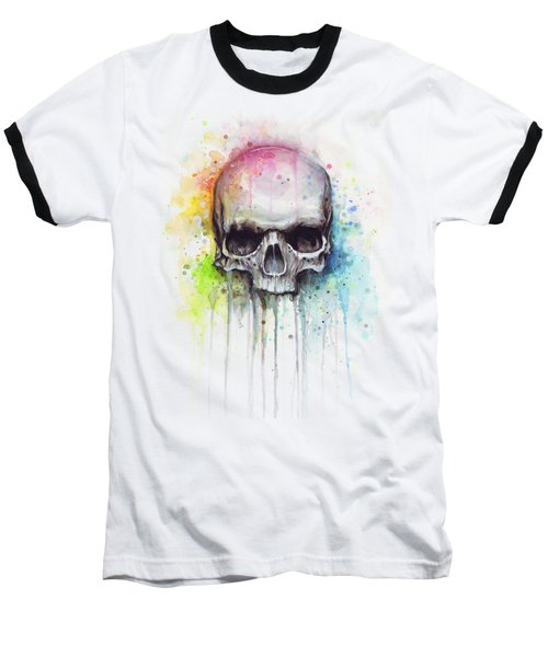Skull Watercolor Painting Baseball T-Shirt