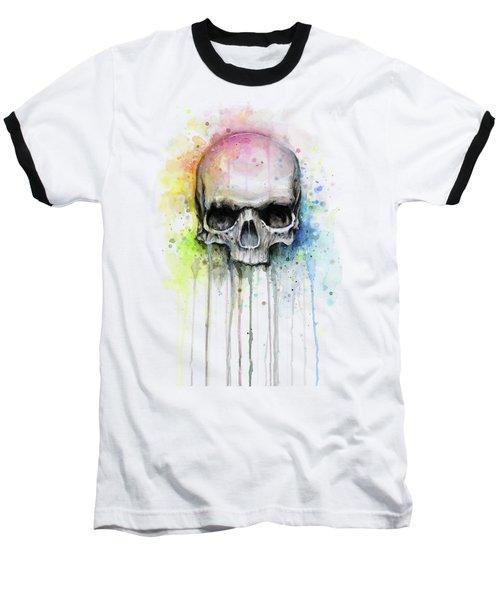 Skull Watercolor Rainbow Baseball T-Shirt