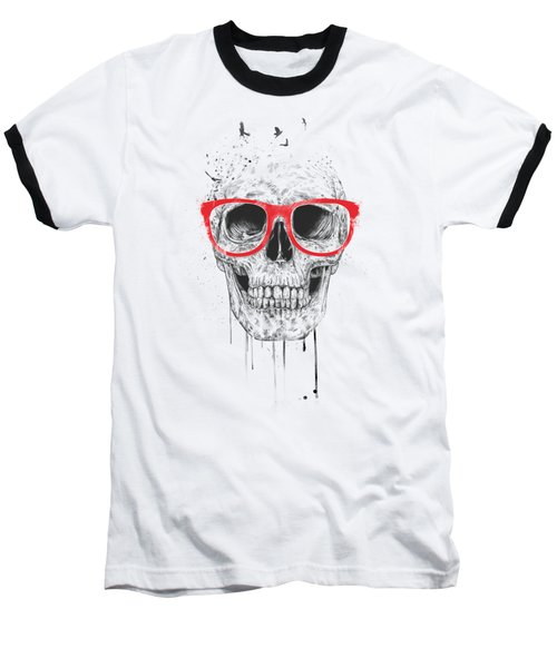 Skull With Red Glasses Baseball T-Shirt by Balazs Solti