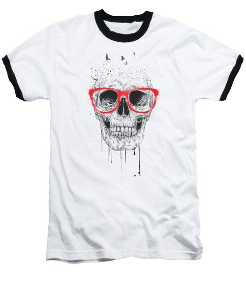 Skull With Red Glasses Baseball T-Shirt