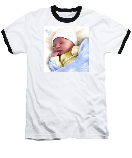 Sleeping Babe Baseball T-Shirt by Karen Lewis