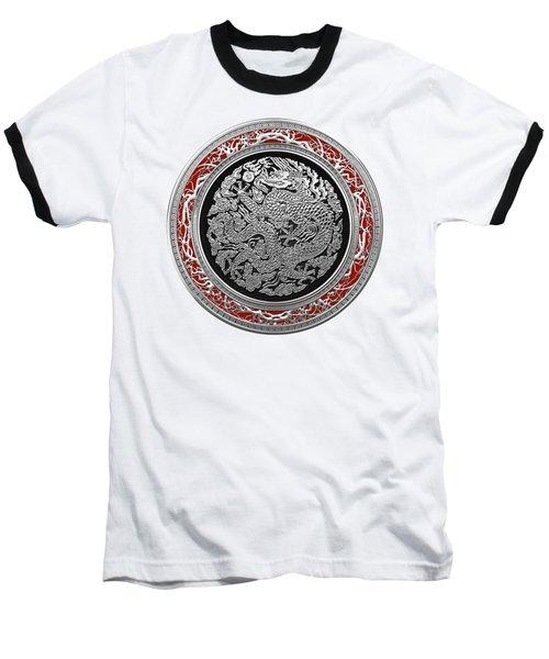 Sliver Chinese Dragon On White Leather Baseball T-Shirt by Serge Averbukh