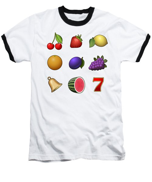 Slot Machine Fruit Symbols Baseball T-Shirt by Miroslav Nemecek