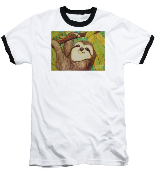 Sloth And Frog Baseball T-Shirt by Nick Gustafson