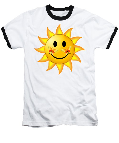 Baseball T-Shirt featuring the digital art Smiley Face Sun by Robert G Kernodle