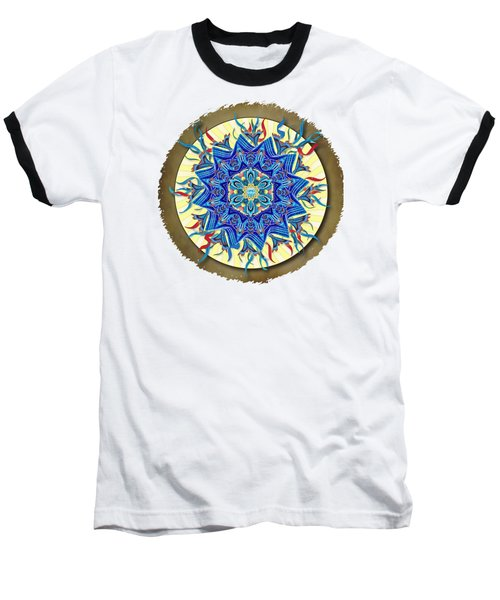 Smiling Blue Moon Mandala Baseball T-Shirt by Deborah Smith