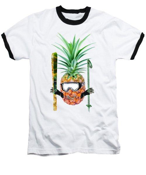 Smiling Pineapple-downhill Skier Baseball T-Shirt by Elena Nikolaeva