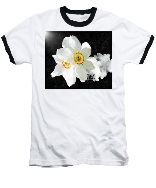 Smokey White Floral Baseball T-Shirt