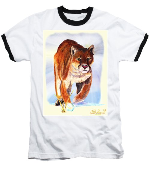 Baseball T-Shirt featuring the painting Snow Cougar by Sherril Porter