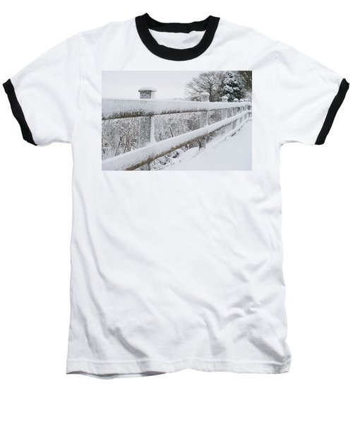 Snow Covered Fence Baseball T-Shirt by Helen Northcott