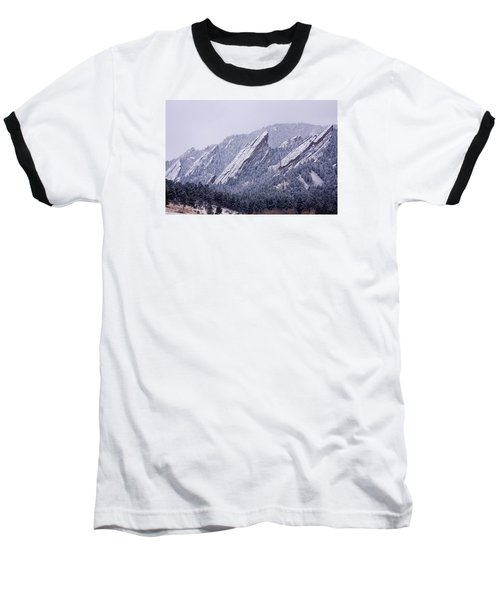 Snow Dusted Flatirons Boulder Colorado Baseball T-Shirt