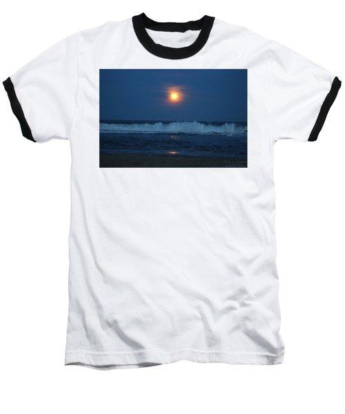 Snow Moon Ocean Waves Baseball T-Shirt