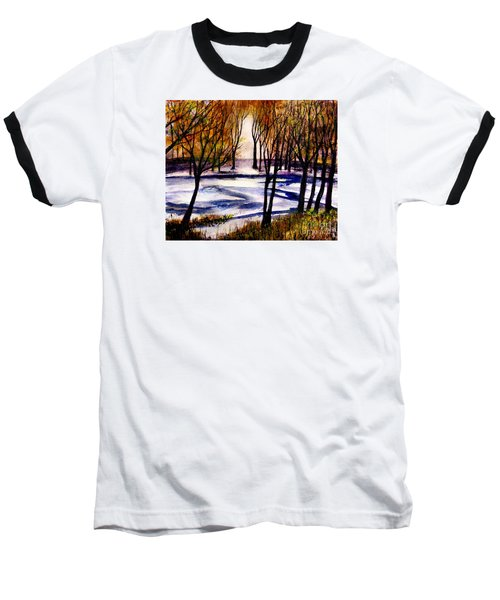 Snow On Lower Pasture Tonight Baseball T-Shirt by Randy Sprout