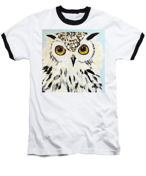Snow Owl Baseball T-Shirt by Donald J Ryker III