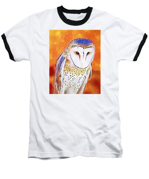 White Face Barn Owl Baseball T-Shirt by Tracie Kaska