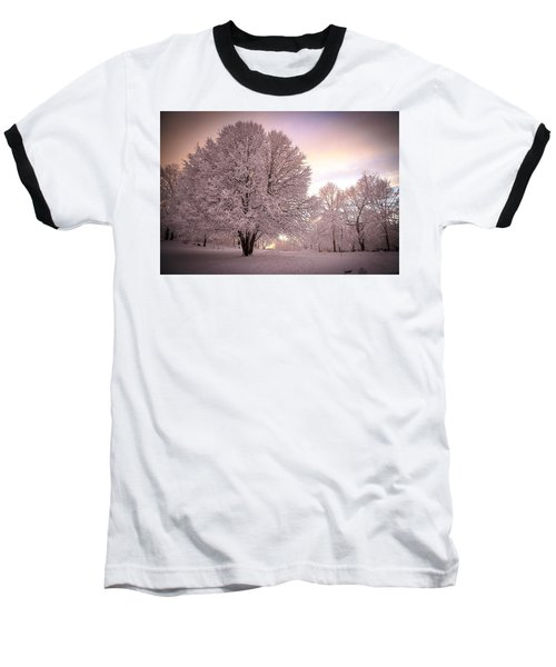 Snow Tree At Dusk Baseball T-Shirt