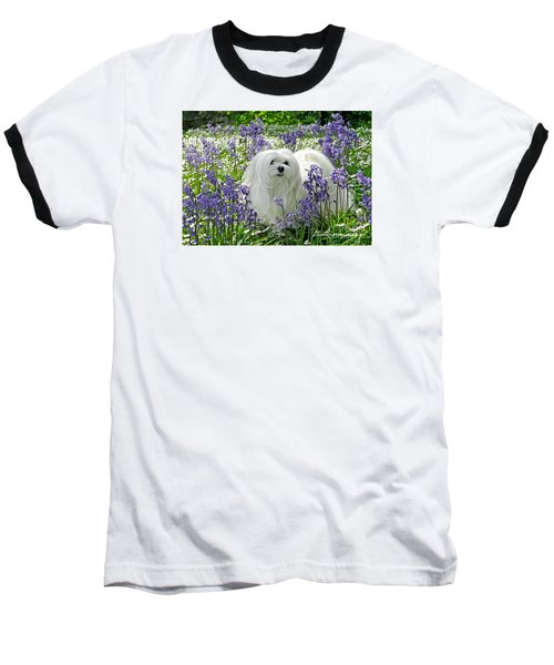 Baseball T-Shirt featuring the mixed media Snowdrop In The Bluebell Woods by Morag Bates