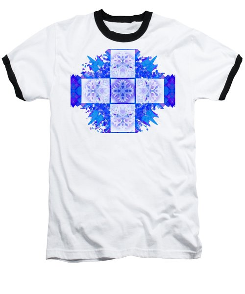 Baseball T-Shirt featuring the digital art Snowflake Cross by Adria Trail