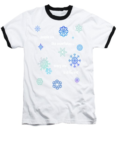 Snowflakes 4 Baseball T-Shirt by Methune Hively