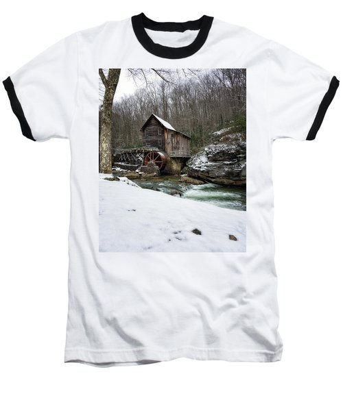 Snowing At Glade Creek Mill Baseball T-Shirt by Steve Hurt