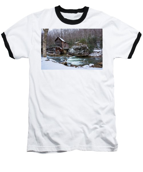 Snowing At The Mill  Baseball T-Shirt by Steve Hurt